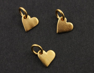 Gold Vermeil Over Sterling Silver Heart Charm -- VM/CH8/CR26