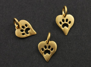 24K Gold Vermeil Over Sterling Silver Tiny Heart Charm With Paw Print-- VM/CH7/CR41 - Beadspoint