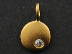 24K Gold Vermeil over Sterling Silver Round Disc With White Saphire Charm  -- VM/CH11/CR9 - Beadspoint