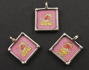 Sterling Silver Hand Painted Ganesha Charm -- TCH-25