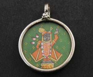 Sterling Silver Hand Painted Indian God Charm -- TCH-22