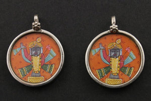 Sterling Silver Hand Painted Indian God Charm -- TCH-07 - Beadspoint