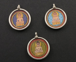 Sterling Silver Hand Painted Buddha Charm -- TCH-16