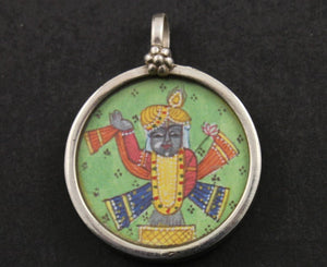 Sterling Silver Hand Painted Indian God Charm -- TCH-13