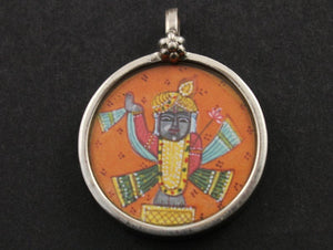 Sterling Silver Hand Painted Indian God Charm -- TCH-07