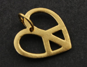 24K Gold Vermeil Over Sterling Silver Peace Heart Charm-- VM/CH8/CR7