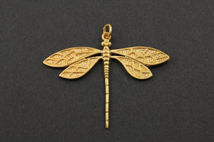 24K Gold Vermeil Over Sterling Silver Long Dragonfly Charm -- VM/CH6/CR39