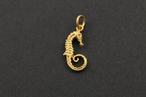 24K Gold Vermeil Over Sterling Silver Seahorse Charm  -- VM/CH7/CR44