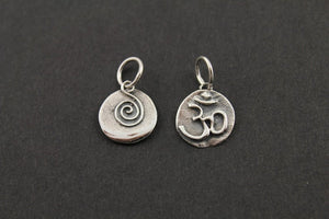 Sterling Silver Artisan OHM Spiral Charm -- SS/CH2/CR52