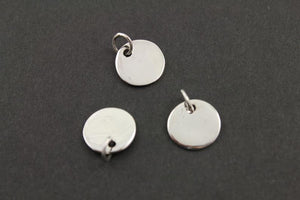 Sterling Silver Flat Round Blank Charm -- SS/CH11/CR3 - Beadspoint