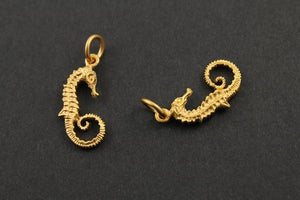 24K Gold Vermeil Over Sterling Silver Seahorse Charm  -- VM/CH7/CR44 - Beadspoint