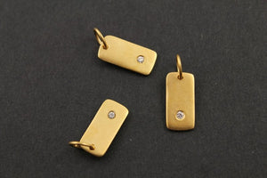 Gold Vermeil Over Sterling Silver Rectangular Tag w/ White Sapphire Charm -- VM/CH8/CR27