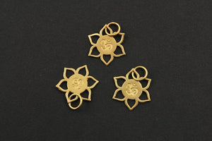 24K Gold Vermeil Over Sterling Silver OHM in a Cut Flower Charm -- VM/CH2/CR51