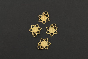 24K Gold Vermeil Over Sterling Silver OHM in a Cut Flower Charm -- VM/CH2/CR51 - Beadspoint