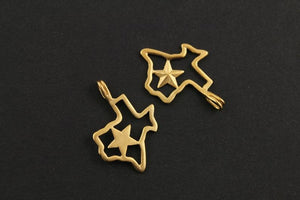 24K Gold Vermeil Over Sterling Silver Texas Lone Star State Outline Charm -- VM/CH10/CR9