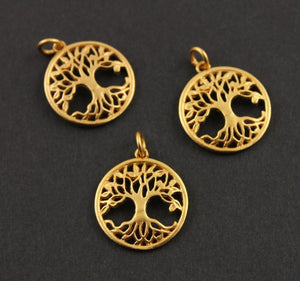 24K Gold Vermeil Over Sterling Silver Large Tree of Life Charm  -- VM/CH4/CR19-A - Beadspoint