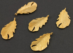 24K Gold Vermeil Over Sterling Silver Leaf Charm -- VM/CH6/CR48 - Beadspoint
