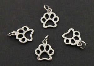 Sterling Silver Paw Charm -- SS/CH7/CR52 - Beadspoint