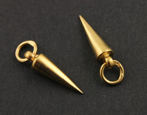24K Gold Vermeil Over Sterling Silver Spike Charm   -- VM/CH7/CR39/B - Beadspoint