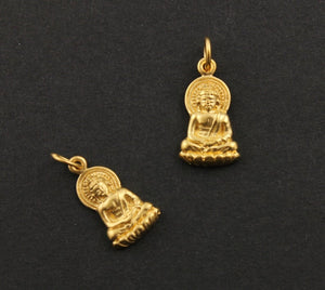 24K Gold Vermeil Over Sterling Silver Buddha Head Charm-- VM/CH2/CR8 - Beadspoint