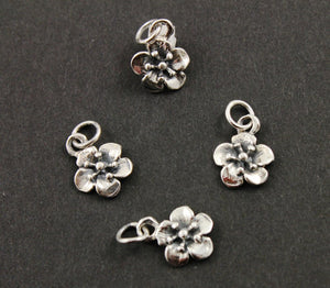 Sterling Silver Small Flower Charm -- SS/CH4/CR87 - Beadspoint