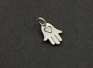 Sterling Silver Hamsa with Heart Charm--SS/CH2/CR57 - Beadspoint