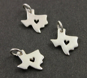 Sterling Silver Texas State With Heart Charm -- SS/CH10/CR51 - Beadspoint