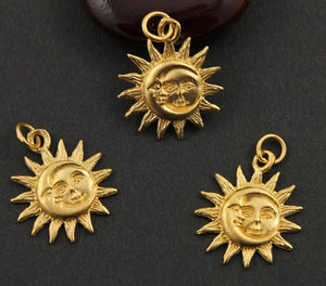 24K Gold Vermeil Over Sterling Silver Sun and Moon Charm -- VM/CH5/CR32