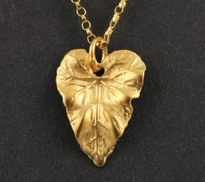 24K Gold Vermeil Over Sterling Silver Leaf Charm -- VM/CH4/CR91 - Beadspoint