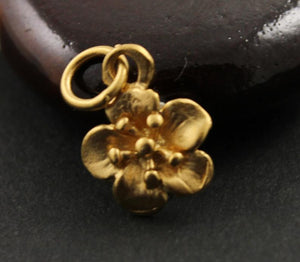 24K Gold Vermeil Over Sterling Silver Small Flower Charm-- VM/CH4/CR87 - Beadspoint