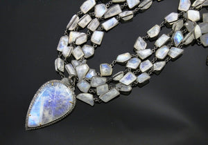 Pave Diamond Rainbow Moonstone Pendant -- DP-0987 - Beadspoint