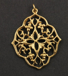 24k Gold vermeil over Sterling Silver Victorian Broach Charm -- VM/CH5/CR33 - Beadspoint