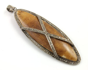 Pave Diamond Wood Oval Pendant -- DP-0028 - Beadspoint