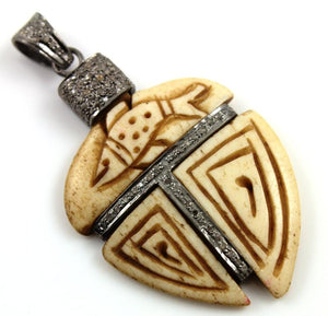 Pave Diamond Carved Wood Gothic Pendant --DP-0666 - Beadspoint