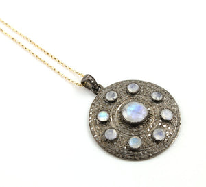 Pave Diamond Covered Circle Pendant --DP-1327 - Beadspoint