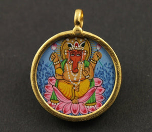 Gold Vermeil Over Sterling Silver Hand Painted Ganesha Charm -- VMTCH-27 - Beadspoint