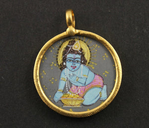 Gold Vermeil Over Sterling Silver Hand Painted Krishna Charm -- VMTCH-28