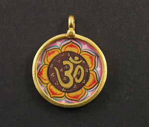 Gold Vermeil Over Sterling Silver Hand Painted OHM Charm -- VMTCH-20 - Beadspoint