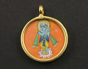 Gold Vermeil Over Sterling Silver Hand Painted Krishna Charm -- VMTCH-22 - Beadspoint