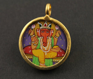 Gold Vermeil Over Sterling Silver Hand Painted Ganesha Charm -- VMTCH-23
