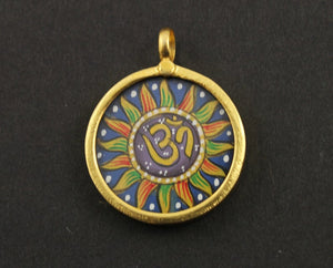 Gold Vermeil Over Sterling Silver Hand Painted OHM Charm -- VMTCH-25