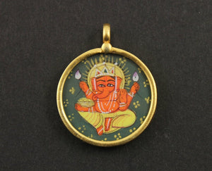 Gold Vermeil Over Sterling Silver Hand Painted Ganesha Charm -- VMTCH-29 - Beadspoint