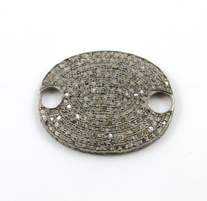 Pave Diamond Covered Oval Pendant -- DP-1255 - Beadspoint