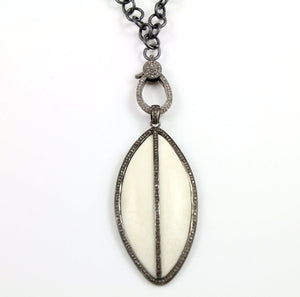 Pave Diamond Wood Oval Pendant --DP-1169 - Beadspoint