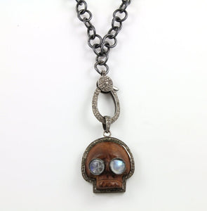 Pave Diamond Wood Skull Pendant -- DP-0832 - Beadspoint