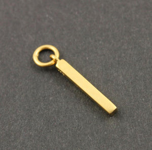 24K Gold Vermeil Over Sterling Silver Bar Charm  -- VM/CH11/CR19