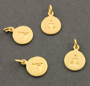 24K Gold Vermeil Over Sterling Silver Meditation Charm in a Disc -- VM/CH2/CR62
