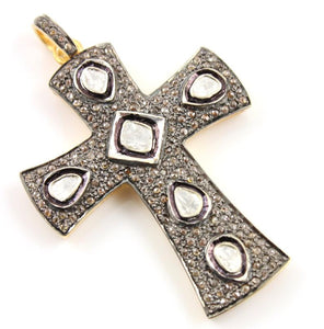 Pave Diamond Rose Cut Cross Pendant -- DP-1257 - Beadspoint