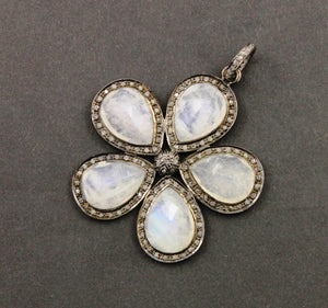 Pave Diamond Rainbow Moonstone Flower Pendant -- DP-1350 - Beadspoint