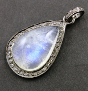 Pave Diamond Oval Rainbow Moonstone Pendant -- DP-0777 - Beadspoint